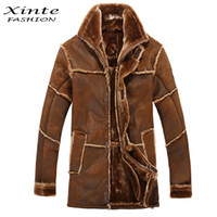 Wholesale mens leather parka coats - Wholesale-European Style Male Fashion Thick Warm Outwear Winter Mens Faux Fur Coat Spliced Suede Leather Jacket Parkas Fast Shipping