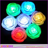 proyectores de luz de la habitación del bebé al por mayor-Electronic 7 Changing Color LED Rose Flower Candle lights sin humo sin llama rosas lámpara de amor Wedding Party Decor chirstmas gift