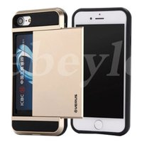 Wholesale Iphone V - For Iphone 5 6 7 Plus Case Note 7 Case Card Slide For Samsung Galaxy S7 Slide Case Hybrid V-ERUS Card Slot Wallet