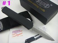 Wholesale Wholesale Damascus Steel - DHL Shipping Micro Damascus Troodon A07 black handle Double action fine edge full blade Tactical knife survival knife knives