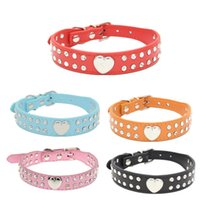 Wholesale Dog Bling Charms - 50pcs lot Fast shipping 2 Rows Bling Rhinestone Puppy Pet Dog Collar With Nice Heart Charm 5 colors