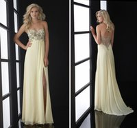 Wholesale Jasz Prom - 2017 New Empire Sweetheart Sleeveless Sweep Train Zipper at Side Chiffon Prom Dress Beading Rhinestone Side Slit Jasz Couture Sexy Daffodil