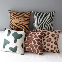 ingrosso cuscini marroni neri-45cm nero e marrone stampa leopardo cotone lino tessuto tiro cuscino 18inch handmade nuovo home office camera da letto decorazione divano posteriore cuscino