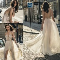 Wholesale Long Spaghetti Strapped Dress Embellished - Sexy Middle Split Tulle Skirt Wedding Dresses 2018 Liz Martinez Bridal Spaghetti Deep PlungingSweetheart Neckline Embellished Bodice