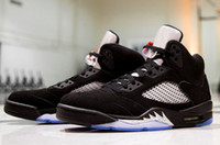 Wholesale High Reflective Pvc - High Quality Retro 5 OG Black Metallic Men Women Basketball Shoes 3M Reflective Effect Sup 5s Sneakers With Shoes Box