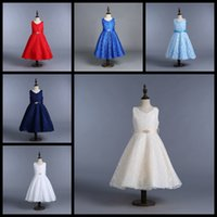 Wholesale silk bohemian black dress - Wholesale Big girls ball gown children prom dresses sleeveless kids lace skirts 13 colors girl's boutiques dress hot sale