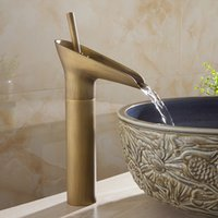 Wholesale Vanity Ceramic Sink Sale - Hot Sale Wholesale and retail Promotion Waterfall Bathroom Golden Faucet Single Handle Vanity Sink Mixer Tap Deck Mount AL-9207K