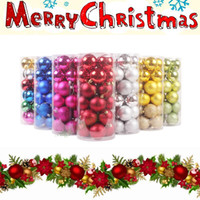 Wholesale Glitter Ball Ornaments - 3CM  4CM 24Pcs Glitter Christmas tree ornaments Balls Baubles Colorful Plastic Balls Hanging Xmas Decoration Light Wedding Decorations