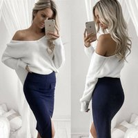 Wholesale Sexy Woman Jumpers - 2017092812 Sexy V Neck Knitting Pullover Top Fashion Autumn Winter Sweater Women Chic Backless Jumper Pull Femme