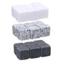 Wholesale Rock Stocks - 6pcs set Natural Whiskey Stones Whisky Stones Cooler Whisky Rock Soapstone Ice Cube With Velvet Storage Pouch CCA7459 200set