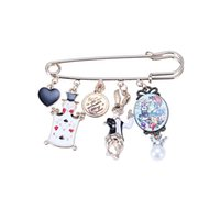 Wholesale Charms Doll Enamel - New Holiday Collar Brooches Pin Jewelry Women Gifts Alloy Doll Charms Enamel Cartoon Cute Brooch Accessories wholesale Clothing Girls