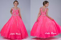 Wholesale Wedding Dresses Round Neckline - Newest Little Girl Pageant Dresses Round Neckline Flower Girl for Wedding Princess Crystal Beads Back Hollow Kids Party Dance Dresses