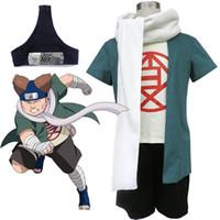 ingrosso giovani giapponesi-Anime giapponese Naruto Cosplay Giovane Akimichi Choji Costume Coat + T-shirt + Pants + Fascia + sciarpa per set per adulti