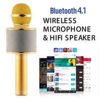 ingrosso compressa moq-WS-858 Wireless Speaker Microfono Portatile Karaoke Hifi Bluetooth Player WS858 Per iphone 6 6s 7 ipad Samsung Tablet PC MOQ: 10PCS