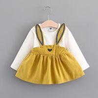 Wholesale Wholesale Girls T Shirt Dresses - Girl Dress 2017 Autumn Girl Rabbit Style Clothing Dress OWhite T-shirt+Dress 2 Pcs Autumn Long Sleeve Dress