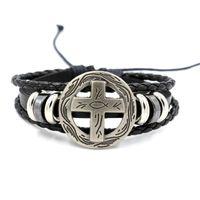 Wholesale Cheap Men Bracelets Crosses - Fashion Jewelry Charm Bracelets for Men Cross Rivets Leather Bracelet Cheap Braided Leather Bracelet Gift for Boy Infinity Bracelet