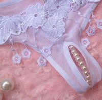 Wholesale Women Massage Underwear - 3 pcs sexy lady's silk pearl massage Women's G-Strings T pants underwear