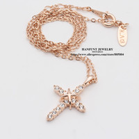 Wholesale rose gold plated fashion necklace online - N451 N452 Cross Jesus Christ Necklaces Rose Gold Color Fashion Pendant Jewelry Cubic Zirconia Crystal
