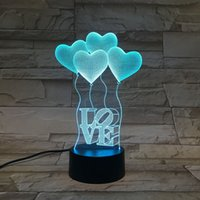 Wholesale Diy Household - Acrylic Colorful USB Love 3D Night light Household Bedroom Office LED Table Lamp Valentines Gift Child Christmas Gift