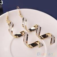 Wholesale Earrings Long Retro - Women Retro Style Fashion Rhinestone Crystal Twist Spiral Eardrops Long Drop Dangle Hook Earrings Jewely Elegant Design 88WS