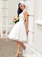 Wholesale knee length beach wedding dresses resale online - 2020 New Lace Wedding Dresses Short Boho Beach Bridal Gowns Cheap High Neck Backless Knee Length Bohemian vestido de noiva