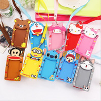 Wholesale Metro Card Case - Wholesale-Silicone card case holder portable cute cartoon String Hello Kitty Metro ID bus Identity badge with lanyard porte carte credit