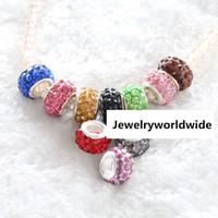 Wholesale Beads For Shambala Bracelet - Resin Crystal Charm Bead Shambala Style 925 Silver Plated Fashion Women Jewelry Stunning Design European For Pandora Bracelet