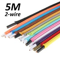 Wholesale Fabric Cord Covers - Wholesale-5M Cloth Covered 2-Wire Round Electrical Cord Vintage Fabric Pendant Lamp Wire