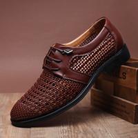 traje de baño transpirable al por mayor-2015 zapatos de vestir del novio zapatos de los hombres frescos Ahuecar sandalias de cuero respirables zapatos de los hombres zapatos casuales