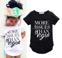 Wholesale Top Tee Brand Shirts Wholesale - New Summer Kids T-shirt Girls Tops Tees Kids Letter T-shirt Short Sleeve White Black Color 5p l