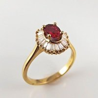 Wholesale Natural Ruby Gold Ring 18k - Natural Ruby Diamond Ring 18K Gold Ballerina Engagement Wedding Cocktail R3691