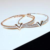 neo bolas magneticas al por mayor-Carta de lujo v brazaletes de cristal Pulseira Feminina famoso diseño Rhinestone brazalete del brazo pulseras mujeres Bijoux regalo de la joyería para la muchacha