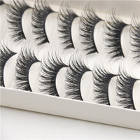 Wholesale Eye Hair Band - 10 Pairs Thick Long Cross Party False Eyelashes Black Band Fake Eye Lashes Hot Sale