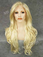 Wholesale Blonde Mix Half Wigs - Iwona Hair Beautiful Wavy Long White Light Blonde Mix Wig 12#1001 613 Half Hand Tied Heat Resistant Synthetic Lace Front Wig