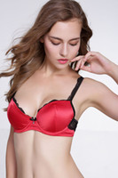 b bardak iç çamaşırı toptan satış-MOXAIN / Kalın bölüm saten saten sutyen lingerie dantel bir jant sutyen seti vardır A / B / C fincan TZ45A47065D