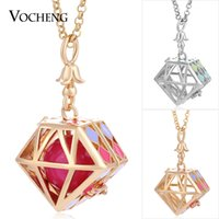 Wholesale Mexican Painted Plate - Angel Locket Geometric Hand Painted 2 Colors Plating Copper Metal Pendant Cage Necklace with Stainless Steel Chain VOCHENG VA-239