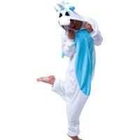 ingrosso pigiama unicorno blu-Unicorno blu Unisex in flanella con cappuccio Pigiama Adulti Cosplay Cartoon Carino animale Kigurumi Onesies Sleepwear Felpe con cappuccio per le donne