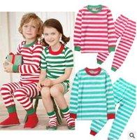 Wholesale Girls Striped Pyjamas - Christmas Pajamas Boys and Girls Autumn Winter Long Sleeve Striped Sleepwear Pyjamas Pants Children Spring Clothes Girls Xmas Pajama Sets