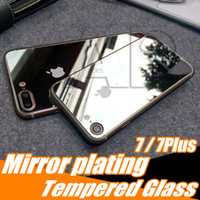 Wholesale Colorful Glass Iphone - For Iphone7 Colorful Tempered Glass Iphone 6s 7 Plus Mirror Screen Protector Color Plating Front And Back Glass Film With Package[2-Pack]