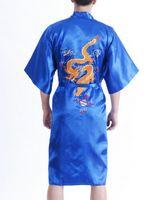 Wholesale Vintage Chinese Silk Embroidery - Wholesale-Vintage Blue Chinese Men's Silk Satin Robe Handmade Embroidery Dragon Nightgown Kimono Bath Gown Pajama Size S M L XL XXL