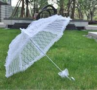Wholesale Lolita Tube - Bridal Accessories Wedding Lace Parasol White Lace Umbrella Lolita Style Accessory Bridal Party Decoration Photo Props
