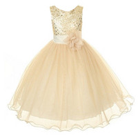 Wholesale New Style Girl Dress Cute Sequin Sleeveless Vest Princess Lace Dress Baby Kids Party Wedding Bridesmaid Vestido
