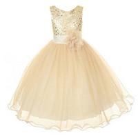 bebek kızları için yeni stil elbiseler toptan satış-Yeni Stil Kız Elbise Sevimli Pullu Kolsuz Yelek Prenses Dantel Elbise Bebek Çocuk Parti Düğün Gelinlik Vestido