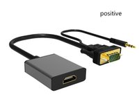 Wholesale Tv Input Adapters - High quality 1080P VGA to HDMI Output TV AV HDTV Video Cable Converter Plug and Play Adapter with Audio Input for Laptop Desktop