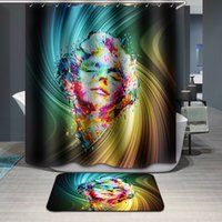 "Wholesale Colorful Marilyn Monroe - Waterproof Marilyn Monroe Design Colorful Digital Printing Bathroom Shower Window Curtain with Hooks 71""x71"""