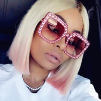Wholesale Pink Rhinestone Sunglasses - Newest Oversized Square Sunglasses rhinestone sun glasses for women luxury brand black pink oversized sunglasses square Glasses UV400 S1811