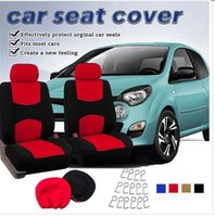 4pca / set Classic Cloth Car Seat Covers Classic Universal Full Set Azul / Preto Color High Back Bucket - Ajustar a maioria do carro, caminhão, Suv ou