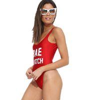 trajes de banho monokini vermelho venda por atacado-Vermelho one piece swimsuit meninas Push up swimwear mulheres sexy bodysuit acolchoado maiô cintura alta esporte monokini