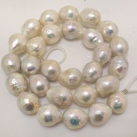 Wholesale Loose Pearl Strands - 16 inches 14-16mm Natural White High Luster Rain drop Large Edison Baroque Pearl Loose Strand for Necklace