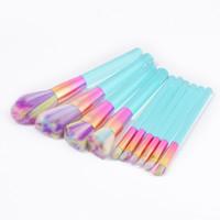 Wholesale pink bristle makeup brush set resale online - 10pcs Cystal Makeup brushes Set Rainbow Bristle Green Pink Transparent Handles Make up Brush For Powder Contour Foundation Brush Tool Kit